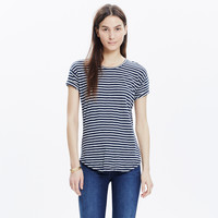 WHISPER COTTON CREWNECK TEE IN MORELIA STRIPE