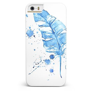 Blue Splatter Feather iPhone 5/5s or SE INK-Fuzed Case