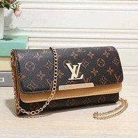 LV Women Shopping Leather Metal Chain Crossbody Satchel Shoulder Bag