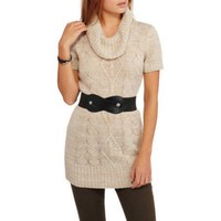 No Boundaries Juniors Cable Knit Sweater Tunic with Belt - Walmart.com