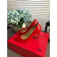 Christian Louboutin Cl Kate Leather Pumps Red Heel Height 8.5cm