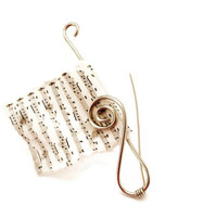 Music Sheet Black and White Polymer Clay Brooch, Stainless Steel Treble Clef Breastpin, Fimo Musical Score Jewelry