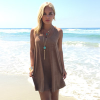 Slick In Suede Tank Dress In Camel Brown
