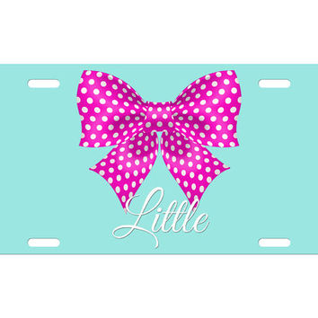Custom Personalized License Plate Car Tag Big Little Sister Sorority Bow Polka Dot Greek Rush College Gift Aluminum Front Car Plate LP-1013