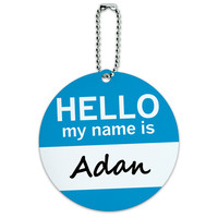 Adan Hello My Name Is Round ID Card Luggage Tag