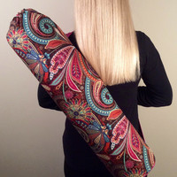 Handmade Yoga Mat Bag, Tote, Mat Carrier - Multi Color Paisley with Pink Lining, Round Base, with Shoulder Strap and Drawstring