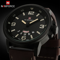 NAVIFORCE -  Leather Strap Military Army Waterproof Wrist watch