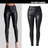 Hot Popular Leather Women Slim High Waisted Button Trousers Pants