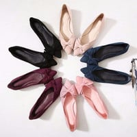 Ballet Pointed Bowtie Flats Fashion Woman Shoes