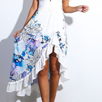 White Floral Designed Spaghetti Strap High Low-Hem Summer Dress