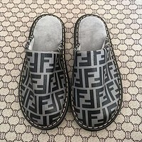 Fendi FF slippers flat bottom flat heel men and women home indoor and outdoor non-slip, wear-resistant and durable slippers