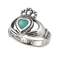 Sterling Silver Genuine Turquoise Claddagh Ring (Size 5)
