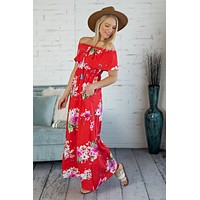 First Class To Cancun OTS Maxi Dress : Floral/Red