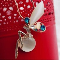 Colorful Angel Opal And Rhinestone Necklace