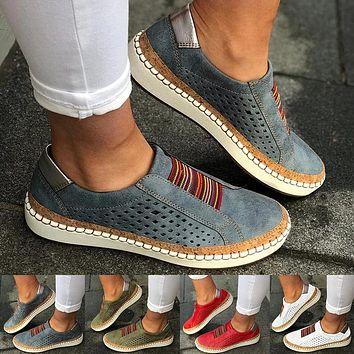 Women Slip on Sneakers Shallow Loafers Vulcanized Shoes Breathable Hollow Out Female Casual Shoes Leather Flats