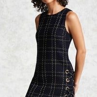 Metallic Grid Tweed Mini Dress