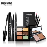 Magical Halo Make Up Cosmetics Kit Makeup Set 6pcs Eyeliner+Eye Shadow Pen+Eyebrow Enhancer+Mascara+Concealer+ Bronzer Powder