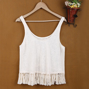 Boho Crop Top with Tassels
