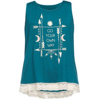 Full Tilt Own Way Crochet Trim Girls Tank Teal Blue  In Sizes