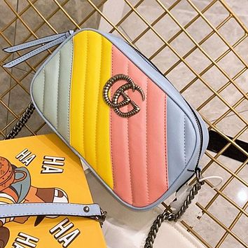 Gucci 2020 new color matching Marmont shoulder camera bag chain bag