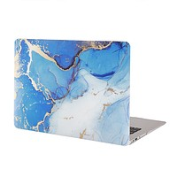 Blue and Gold Marble MacBook Case