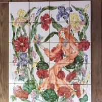 Hand painted Ceramic Tile Mural of lady with little nymphs installed in entry way or bathroom. Can also be framed and hung as a painting.