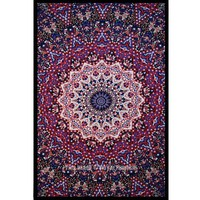 Multi Star and Elephant Printed Intricate Medallion Tapestry Wall Hanging - RoyalFurnish.com