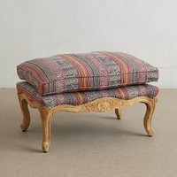 Embroidered Kaili Ottoman by Anthropologie in Red Motif Size: One Size Furniture