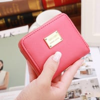 Leather Wallet Female Fashion Brands 2016 New Arrival Short Wallet Women Coin Purses Holder Small Zipper Wallet 8 Colors