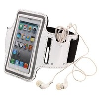 niceeshop(TM) White Running Sport Style Armband Shaped Synthetic Leather Case Cover For Apple iPhone 5 5S +Screen Protector