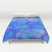 blue cats in space Duvet Cover by Marianna Tankelevich