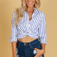 Cropped Twisted Button Up White/Navy