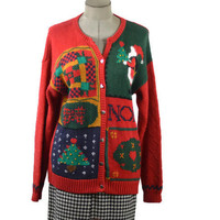 Vintage Ugly Tacky Christmas Sweater Cardigan by Casual Corner/ Large Unisex /Sweater Party