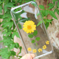 I am a Chrysanthemum Case 100% Handmade Dried Flowers Cover for iPhone 7 7Plus & iPhone 6 6s Plus + Gift Box B61