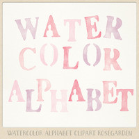 Watercolor alphabet clipart (104 pc) pink purple coral rose blush. hand painted clip art letters for design blogs cards printables wall art