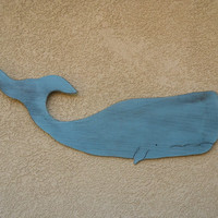 """Wooden Rustic Ocean Blue Whale 40"""" Wall Decoration"""