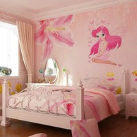 Hot Sale Fairy Princess Butterly Decals Art Mural Wall Stickers Girls Bedroom Decor Sticker.Free Shipping