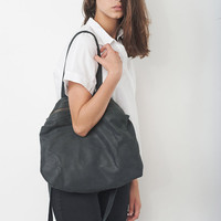 Dark Gray Leather Tote Bag, Women Messenger Bag, Big Cross Body Leather Bag, Soft Leather Tote