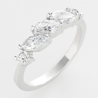 Silver Tone Cubic Zirconia Ring (White)