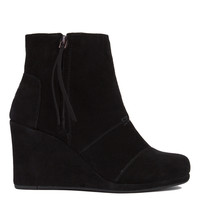 TOMS Desert Wedge High Black Suede Ankle Booties