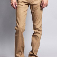 Men's Slim Fit Raw Denim Jeans (Khaki)