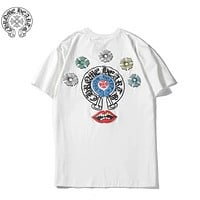 Chrome Hearts Fashion New Pattern Print Women Men Leisure Top T-Shirt White