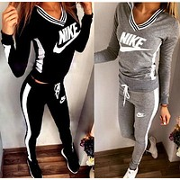 Print V-Neck Sweatshirt Sweater Pants Sweatpants Set Two-Piece Sportswear I