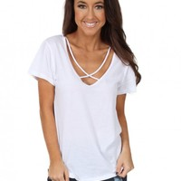 Cross Me Off Top In White   Monday Dress Boutique