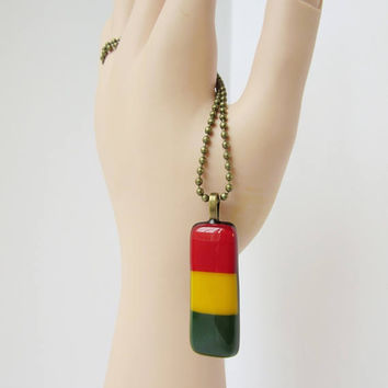 Glass Rasta Pendant Necklace, Reggae Lover Gift, Alternative Jewelry, Rastafarian Charm, Music Festival Fashion Accessory