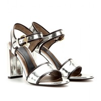 METALLIC-LEATHER SANDALS