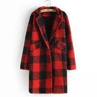 Plaid Notched Long-Sleeve Pocket Knitted Coat