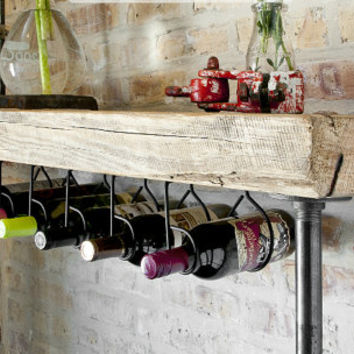"""4.5' Industrial Reclaimed Wine Bar and Rack w/ Pipe legs and thick 2.5"""" Top (150 year plus """"old growth"""" wood) 4.5'L x 11.5"""" w x 35"""" tall"""