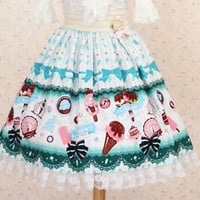 Cosplay Sweet Love Lolita FairyTale Kawaii Dessert Patterns Skirt