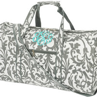 """Personalized women's """"Grey Floral Large DUFFLE BAG"""", Monogrammed with your Initials.    Size 21"""" L x 10"""" W x 11""""H"""